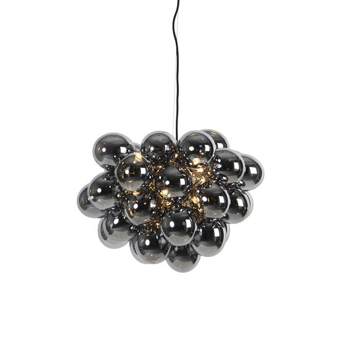 Art-Deco-hanglamp-zwart-met-smoke-glas-8-lichts---Uvas