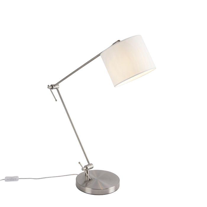 Design-tafellamp-staal-met-witte-kap-18-cm---Editor