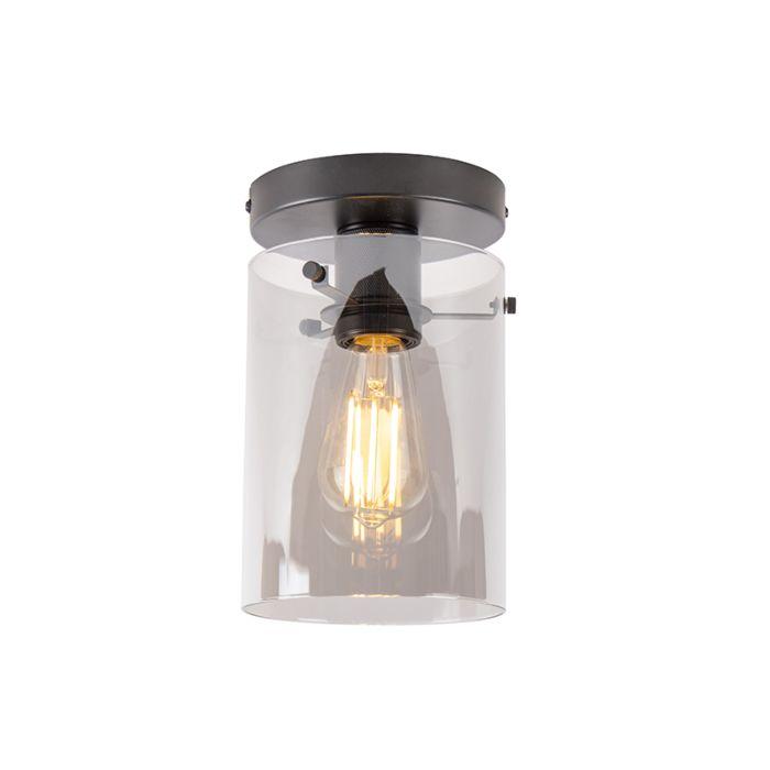Design-plafondlamp-zwart-met-smoke-glas---Dome