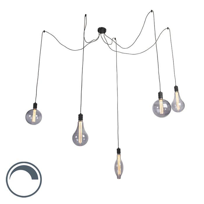 Hanglamp-smoke-glass-incl.-5-lichtbronnen-dimbaar---Cavalux