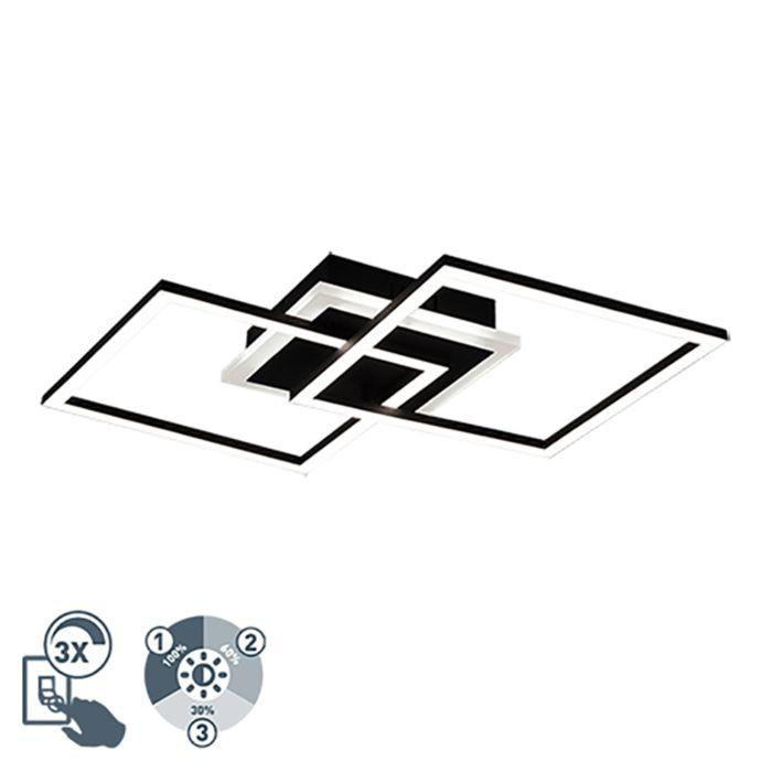 Design-plafonniere-zwart-vierkant-incl.-LED-3-staps-dimbaar---Veni