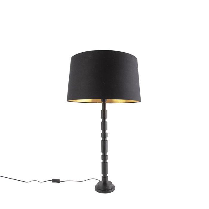 Art-deco-tafellamp-zwart-met-katoenen-kap-45-cm---Torre