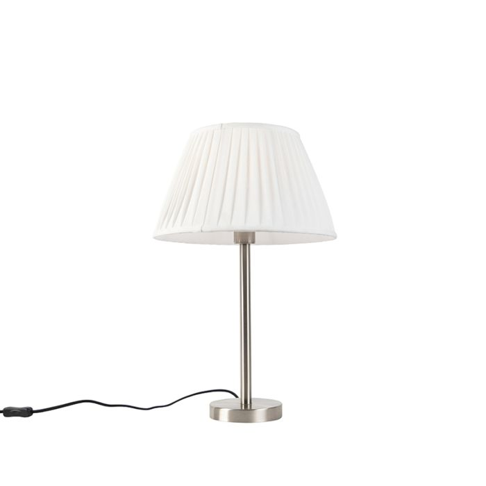 Klassiek-tafellamp-staal-met-plissé-kap-wit-35-cm---Simplo