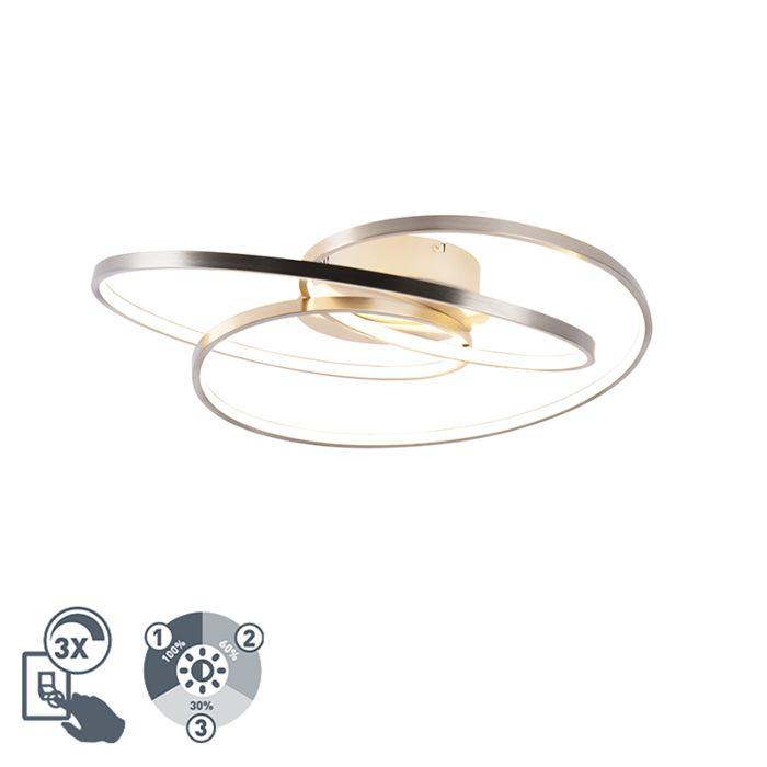 Plafonnière-staal-60-cm-incl.-LED-3-staps-dimbaar---Rowin