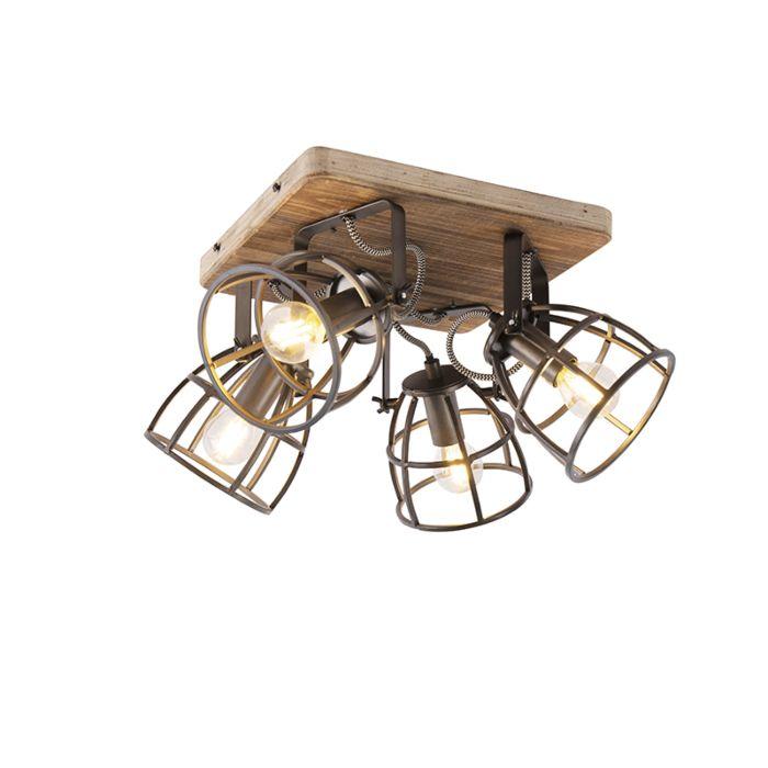 Industriële-spot-zwart-met-hout-verstelbaar-4-lichts---Arthur