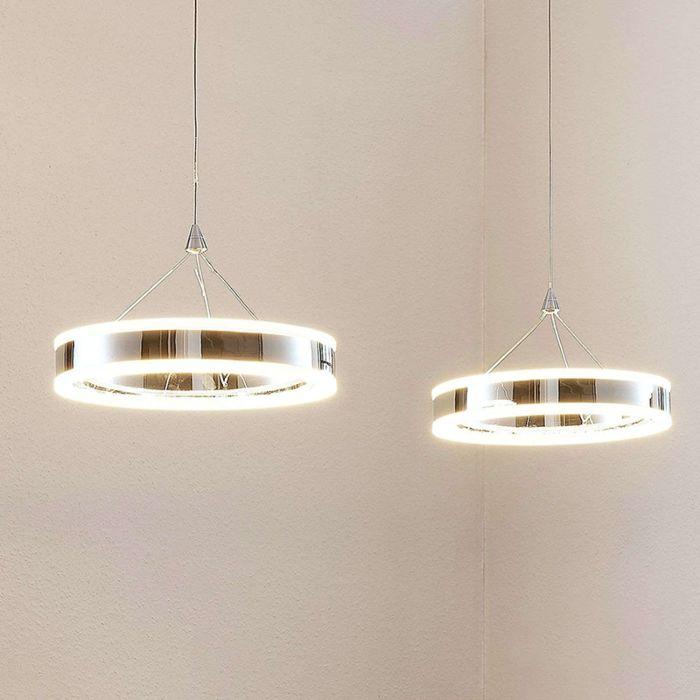 Moderne-hanglamp-chroom-2-lichts-incl.-LED-3-staps-dimbaar---Lyani