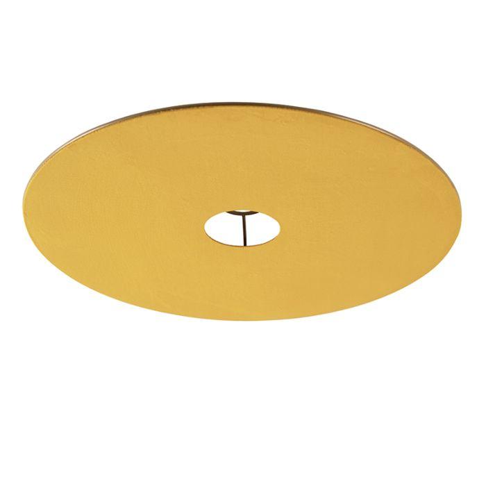 Velours platte lampenkap geel met goud 45 cm