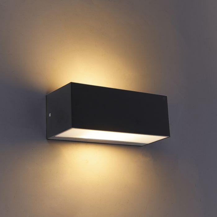 Moderne-wandlamp-zwart-IP65---Houks