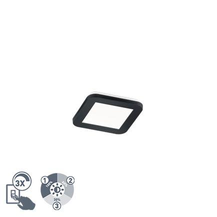 Plafonnière-vierkant-zwart-17-cm-incl.-LED-3-staps-dimbaar-IP44---Lope