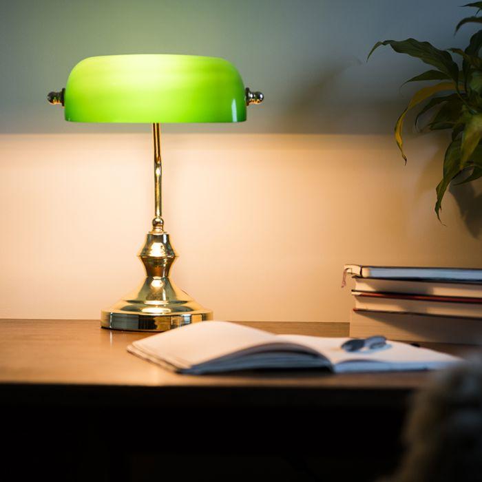 Klassieke-tafellamp/notarislamp-messing-met-groen-glas---Banker