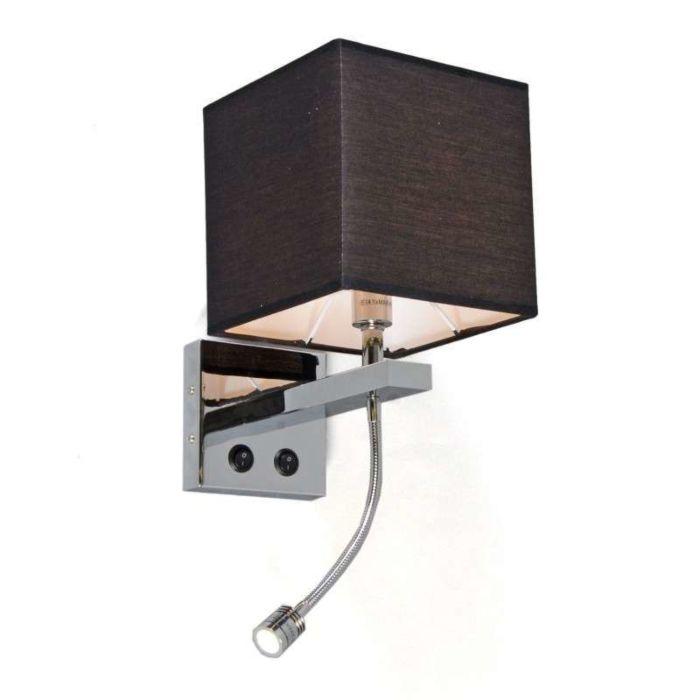 Wandlamp-Brescia-chroom-met-zwarte-kap