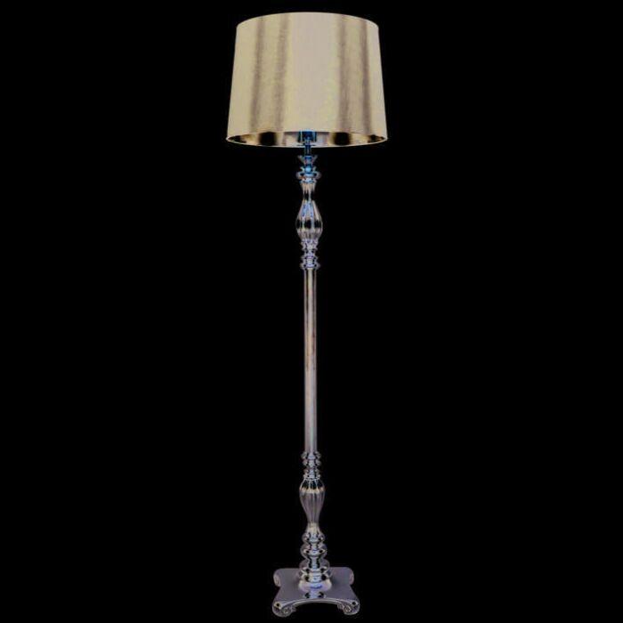 Vloerlamp-Paris-chroom-met-kap-zwart