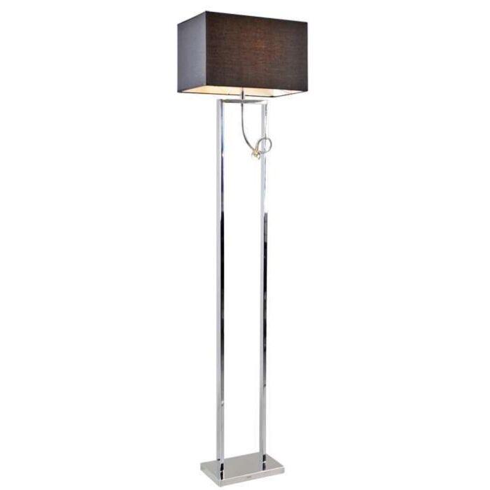 Vloerlamp-Brescia-chroom-met-kap-zwart