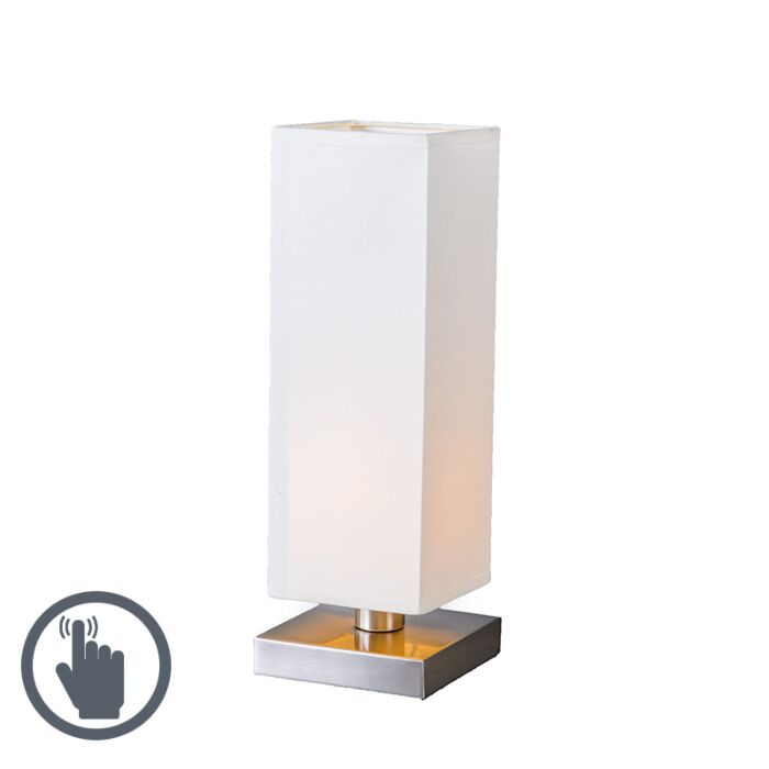 Tafellamp-Tower-Touch-staal-met-wit