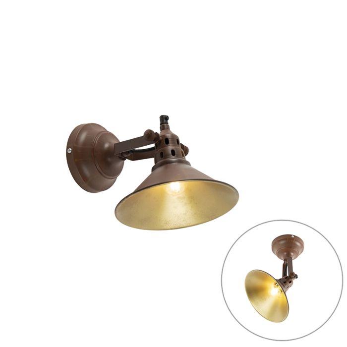 Industriële-wandlamp-roest-met-goud---Rust