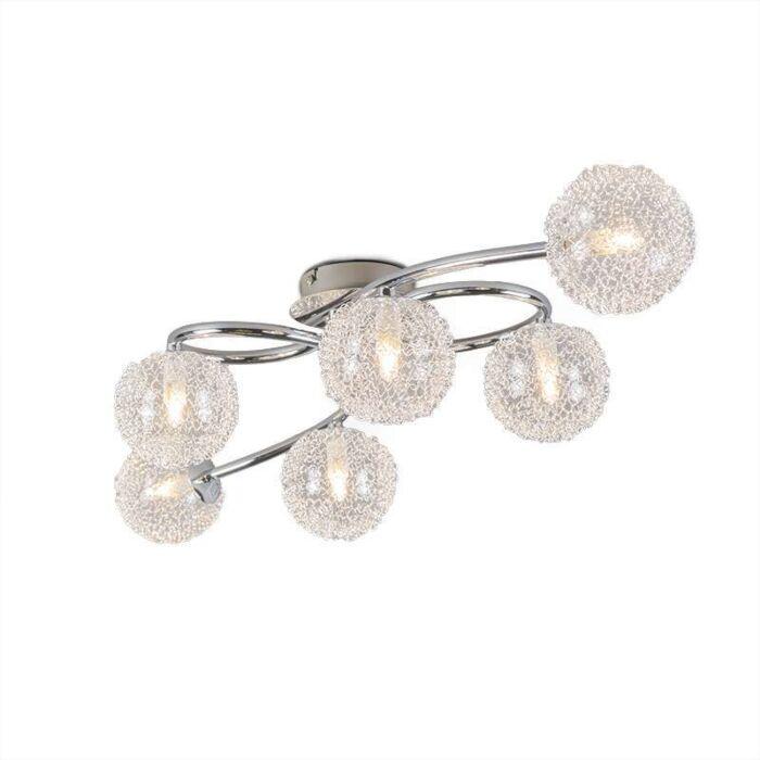 Art-deco-plafonniere-chroom-met-glas-6-lichts---Sfera-Wire