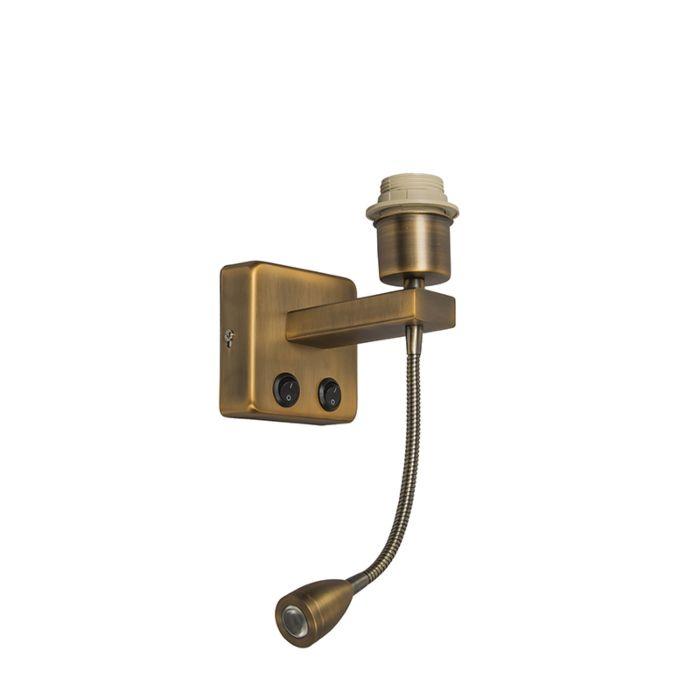 Wandlamp-brons-incl.-LED-met-leesarm---Brescia-Combi