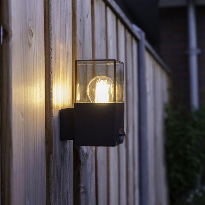 Buitenwandlamp-donkergrijs-met-bewegingsmelder-IP44---Denmark