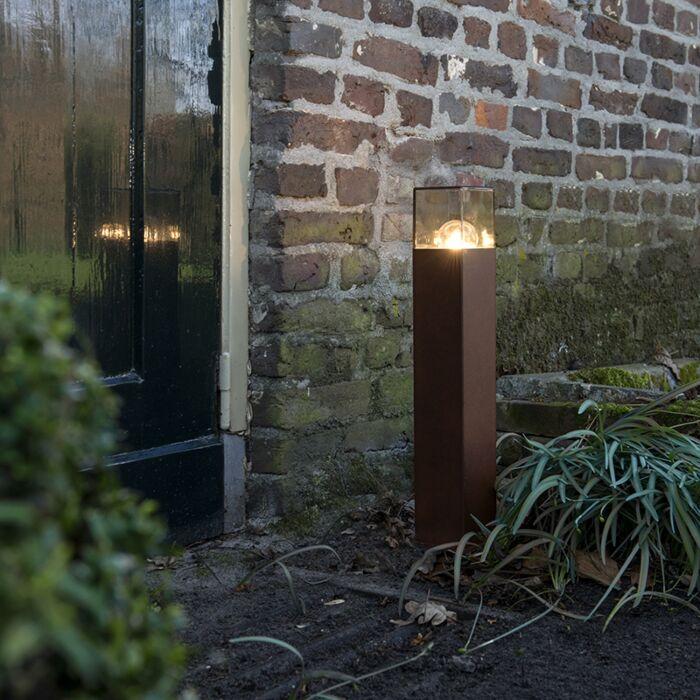 Industriële-staande-buitenlamp-50-cm-roestbruin-IP44---Denmark