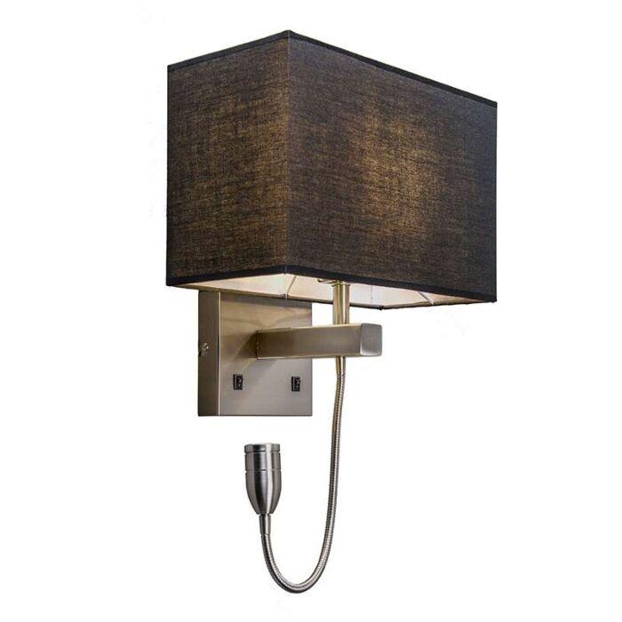 Wandlamp-staal-met-zwarte-kap-en-leesarm-incl.-LED---Bergamo