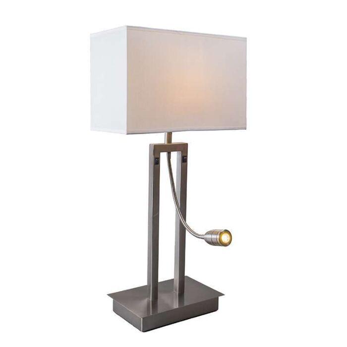 Tafellamp-Bergamo-staal-met-kap-creme-wit