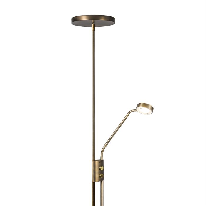 Uplighter-Jazzy-met-leeslamp-rond-brons