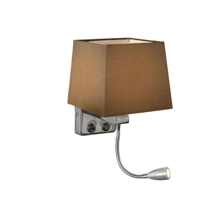 Wandlamp-Brescia-chroom-met-kap-vierkant-bruin