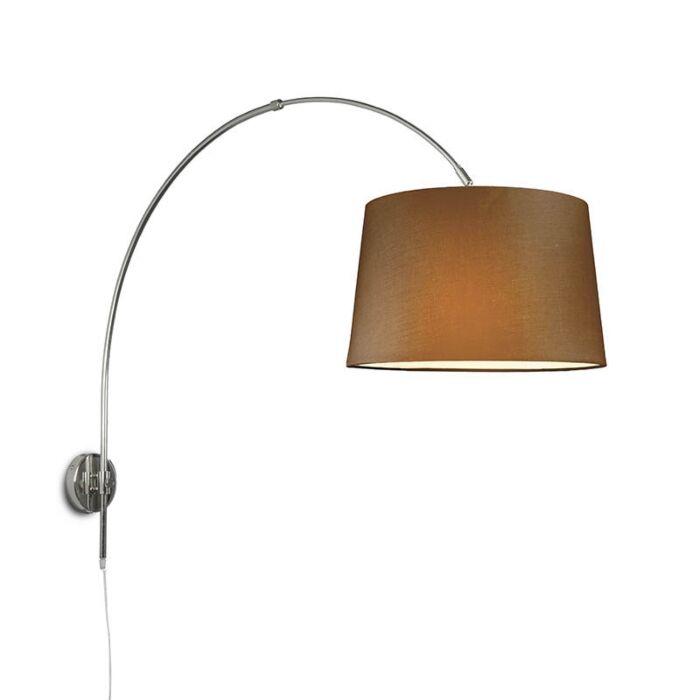 Wandbooglamp-chroom-met-kap-40cm-bruin