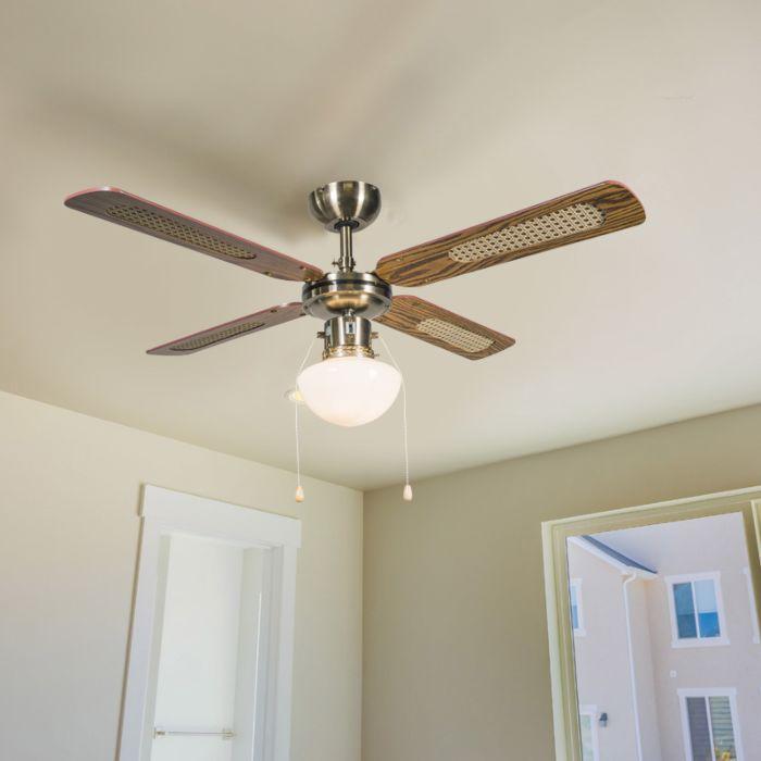 Industriële-plafondventilator-met-lamp-100-cm-hout---Wind