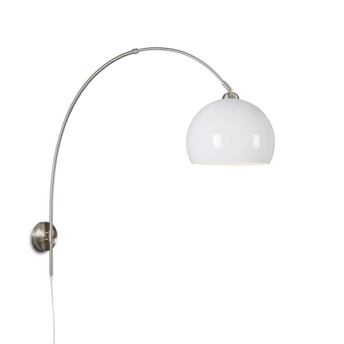 Retro-wandbooglamp-staal-met-witte-kap-verstelbaar