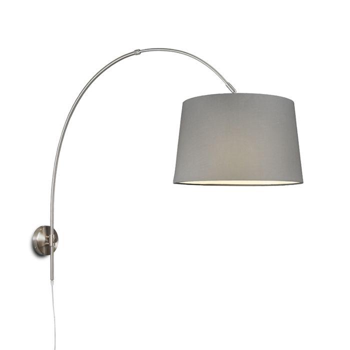 Wandbooglamp-staal-met-kap-40cm-grijs