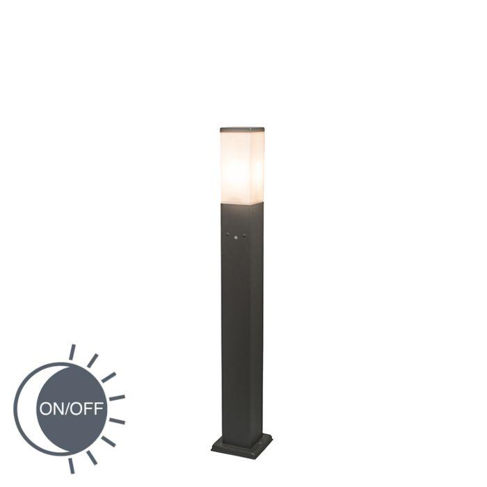 Buitenlamp-Malios-paal-80cm-donkergrijs-met-LUX-sensor
