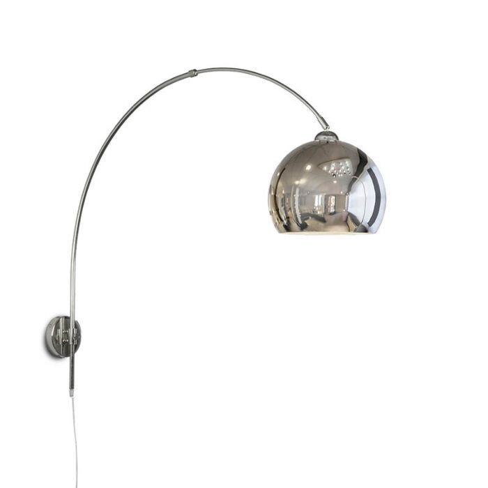 Wandbooglamp-chroom-met-bol-chroom