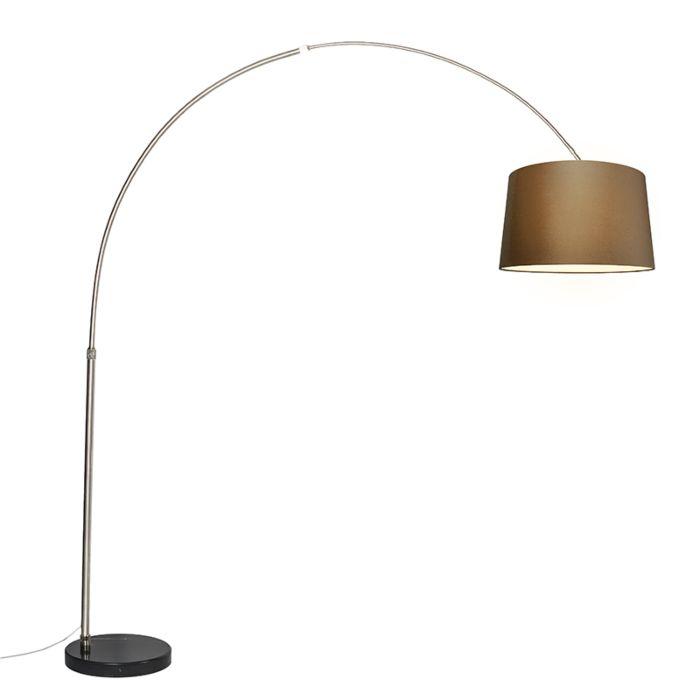 Zwarte-booglamp-met-bruine-kap-schuin-45-cm---XXL
