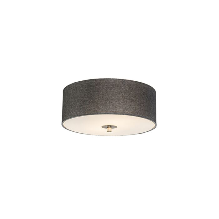 Landelijke-plafondlamp-grijs-30-cm---Drum-Jute