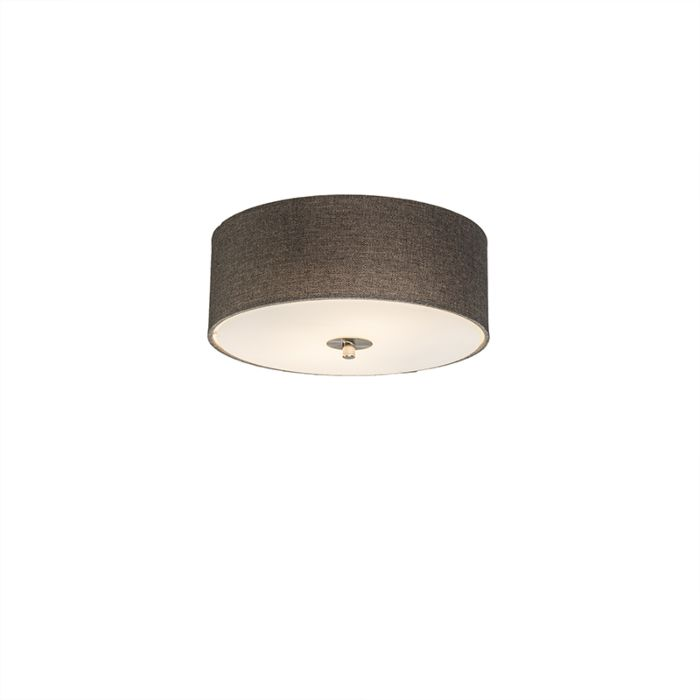 Landelijke-plafondlamp-taupe-30-cm---Drum-Jute