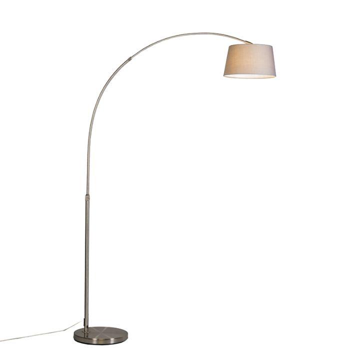 Moderne-booglamp-staal-met-grijze-stoffen-kap---Arc-Basic