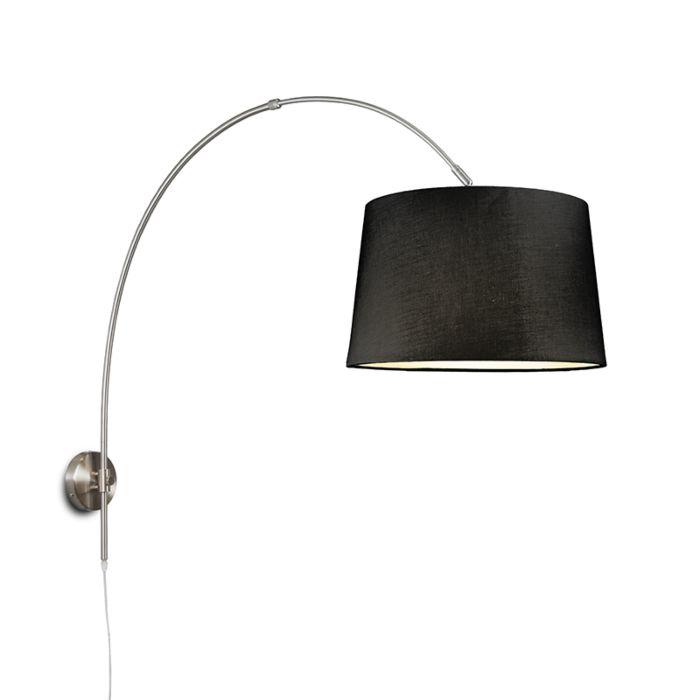 Wandbooglamp-staal-met-kap-40cm-zwart