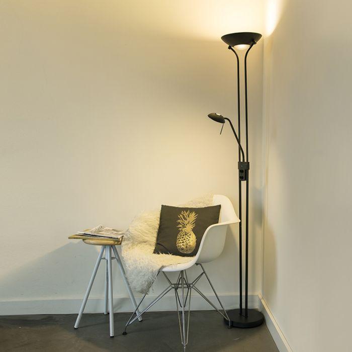 Moderne-vloerlamp-zwart-met-leeslamp-incl.-LED-en-dimmer---Diva-2