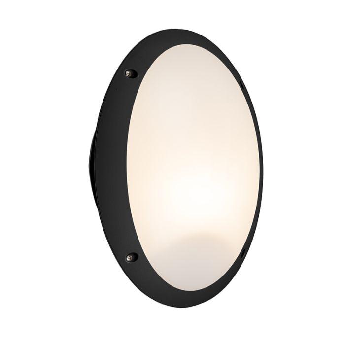 Moderne-ovale-buitenwandlamp-zwart---Maddi