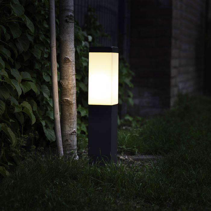 Moderne-buitenlamp-paal-donkergrijs-45-cm-IP44---Malios