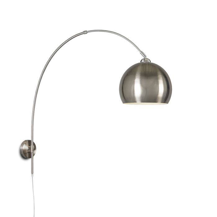 Wandbooglamp-staal-met-bol-staal