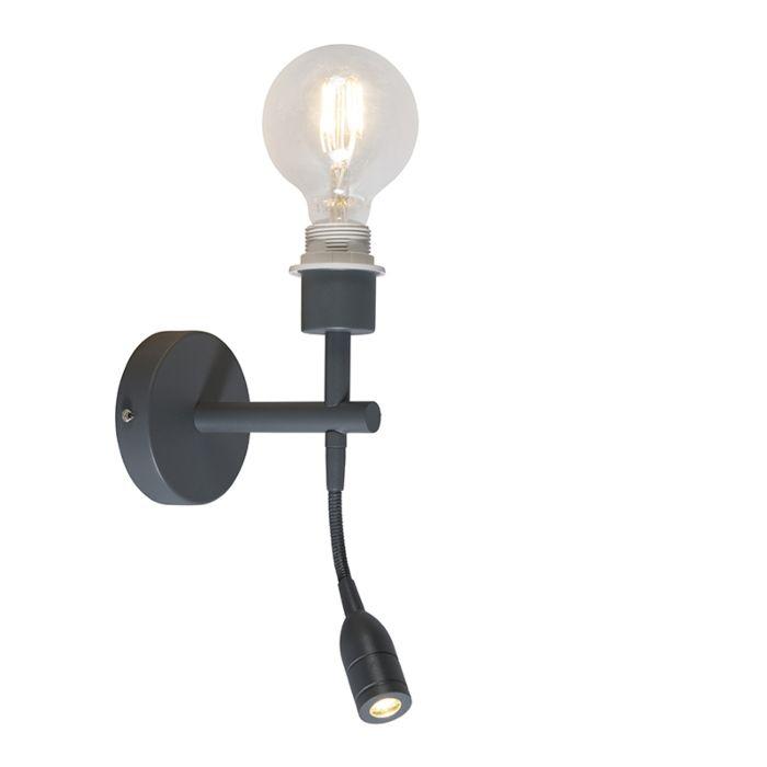 Wandlamp-Combi-1-LED-leeslamp-donkergrijs-zonder-kap