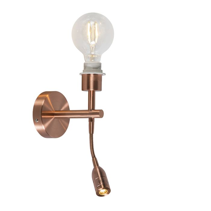 Wandlamp-Combi-1-LED-leeslamp-koper-zonder-kap
