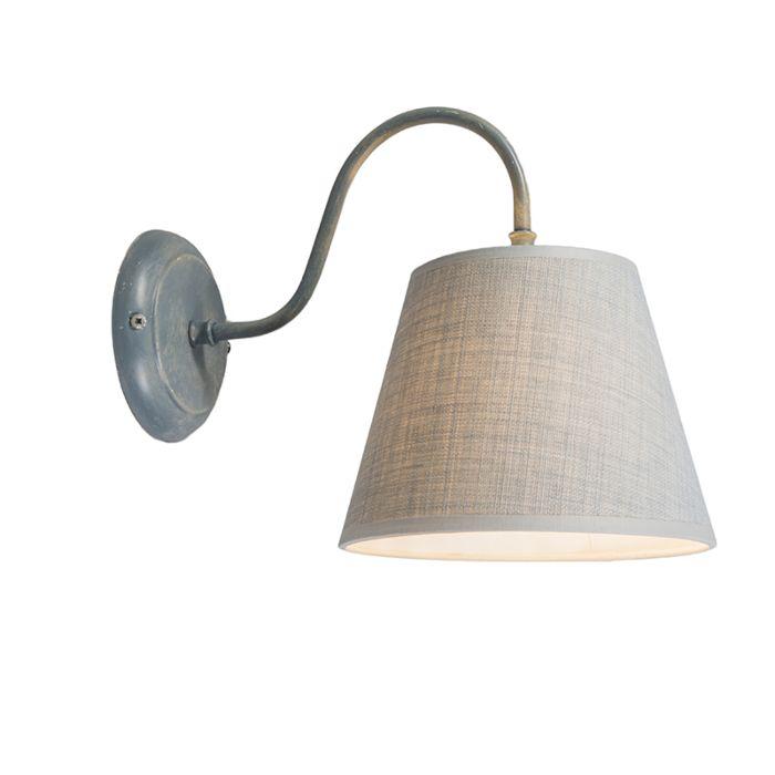Wandlamp-Silea-Down-met-kap-antiek-grijs