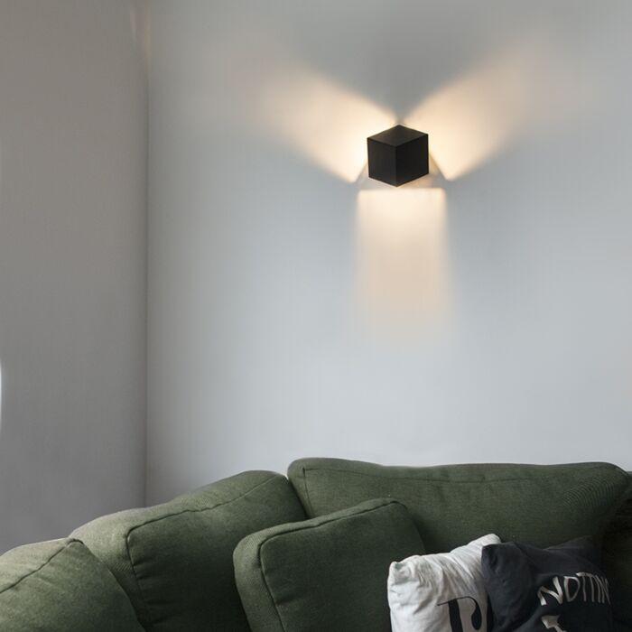 Moderne-wandlamp-zwart---Cube