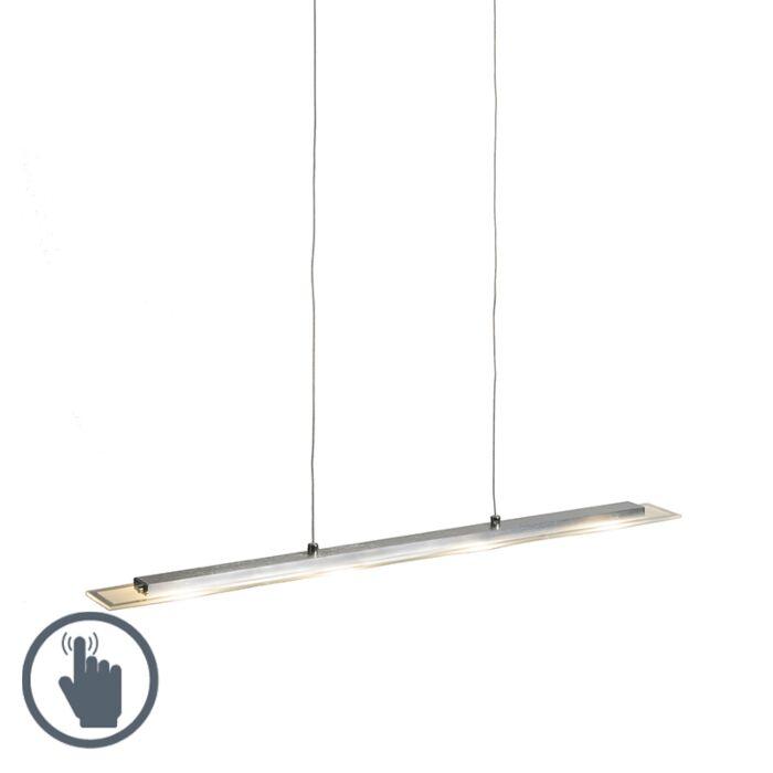 Hanglamp-staal-met-glasplaat-incl.-LED-met-touchdimmer---Platina