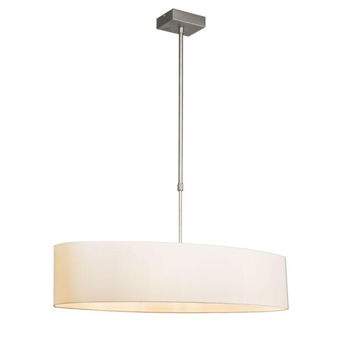 Hanglamp-Mix-2-staal-met-ovale-kap-creme-wit