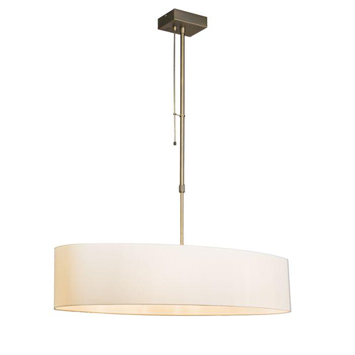 Hanglamp-Mix-2-brons-met-dimmer-en-ovale-kap-creme-wit