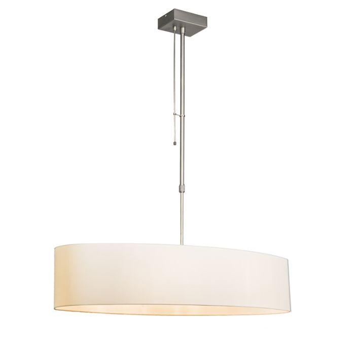 Hanglamp-Mix-2-staal-met-dimmer-en-ovale-kap-creme-wit